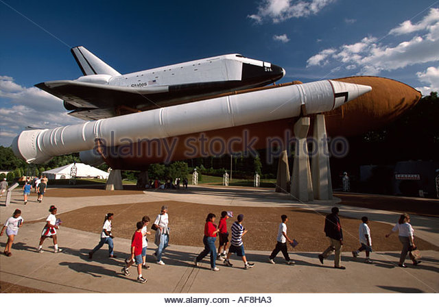 Huntsville Alabama US Space & Rocket Center space shuttle exhibit Space Camp students - Stock Image