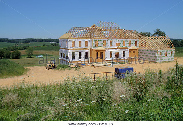 Maryland Harford County Pylesville real estate under construction new home house MacMansion economy mortgage crisis - Stock Image