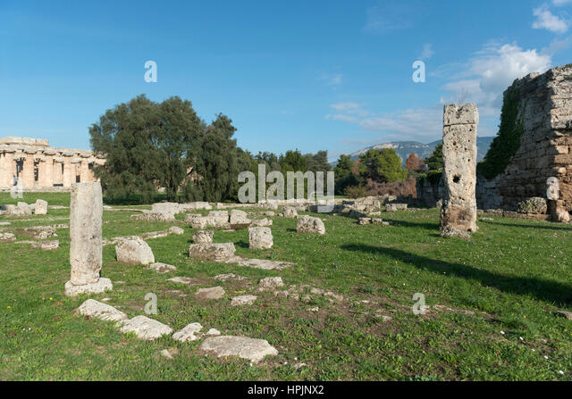 Paestum - famous archaeological site, the  temple, graeco-roman civilization, Campania, Salerno, Italy - Stock Image