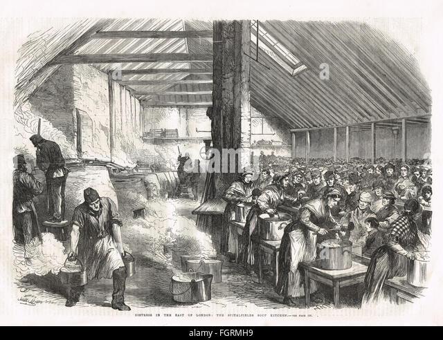Spitalfields Soup Kitchen, Victorian London, 1867 - Stock Image