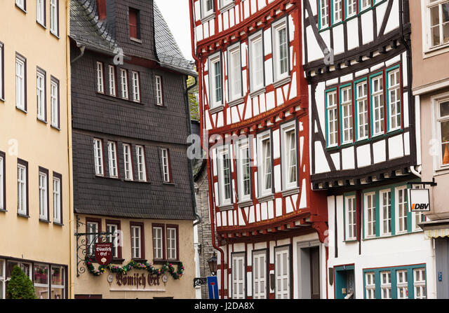 Germany, Hesse, Wetzlar, half-timbered town buildings - Stock Image