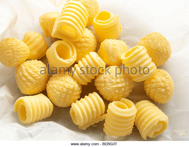 Butter curls and butter balls - Stock Image