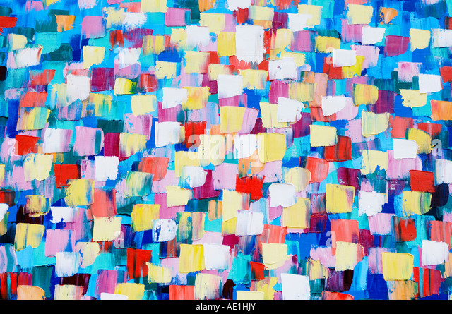Abstract psychedelic oil painting in cold colors - Stock Image