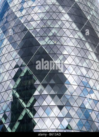 Gherkin Swiss Reinsurance building detail London city UK - Stock Image