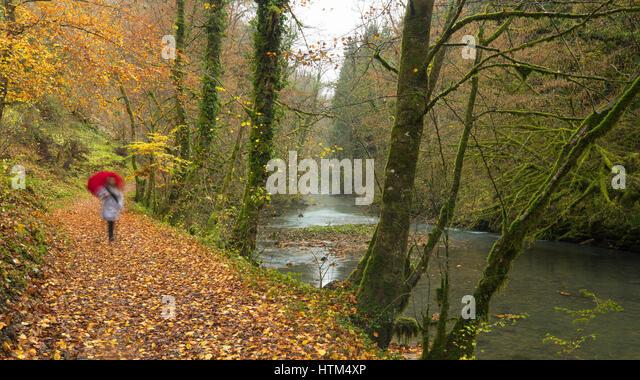 A woman with umbrella walking in autumn in the Gorge du Lison, Nans-Sous-Sainte-Anne, Franche-Comté, France - Stock-Bilder