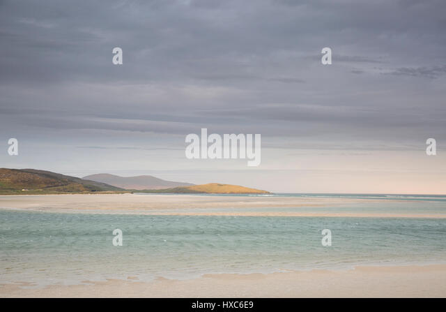 Tranquil view clouds over ocean, Luskentyre, Harris, Outer Hebrides - Stock Image