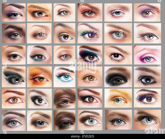 Mascara. Great Variety of Women's Eyes. Set of Eyeshadow - Stock Image
