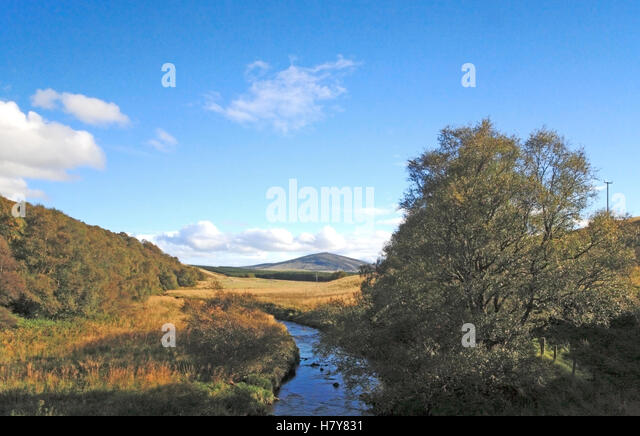 A landscape with the upper reaches of the River Deveron near the Cabrach, Aberdeenshire, Scotland United Kingdom. - Stock Image