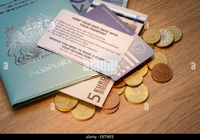 British passport with an EHIC card and Euro coins - Stock Image