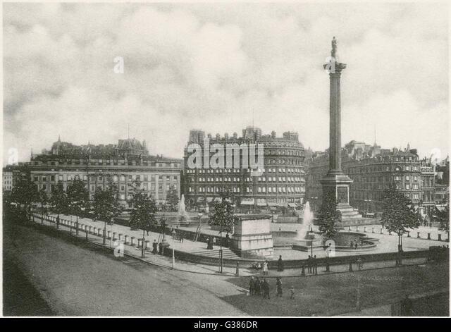 Photograph of Trafalgar Square          Date: 1890 - Stock-Bilder