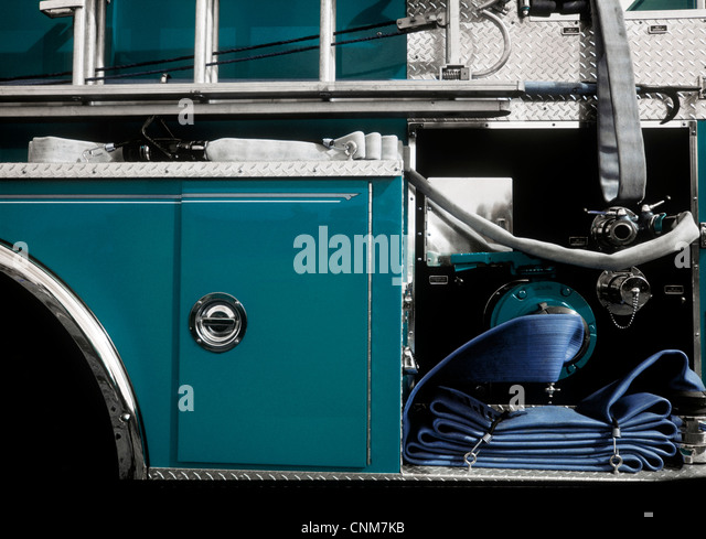 Side view of Fire Truck, close-up - Stock Image
