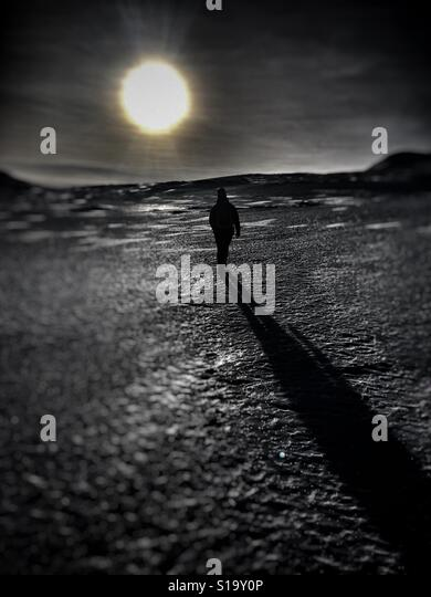 Long shadows from the sun - Stock Image
