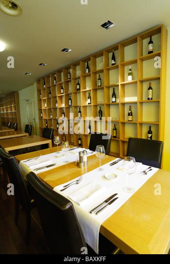 Table settings inside Restaurant Balthazar, Basel, Switzerland - Stock Image