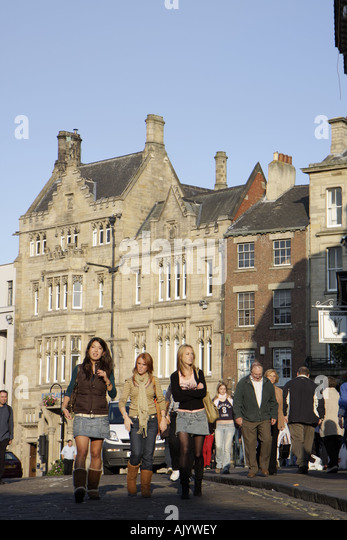 England UK Durham City Market Place female students - Stock Image