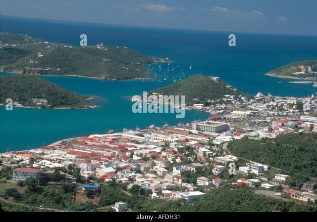 US Virgin Islands St. Thomas Charlotte Amalie St. Thomas Harbor view from Skyline Drive USVI019 - Stock Image