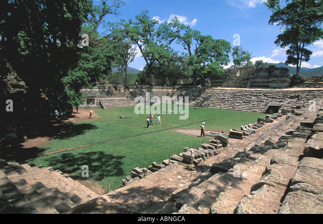 Honduras Copan Ruinas Maya ruins tourists in open courtyard - Stock Image