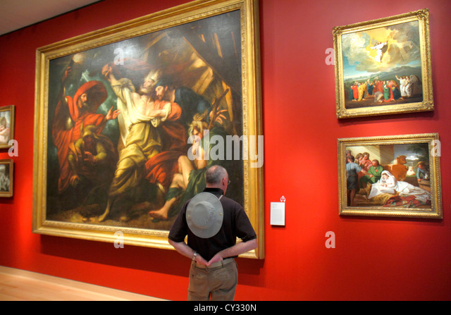 Massachusetts Boston Huntington Avenue Museum of Fine Arts collection paintings art man viewing - Stock Image
