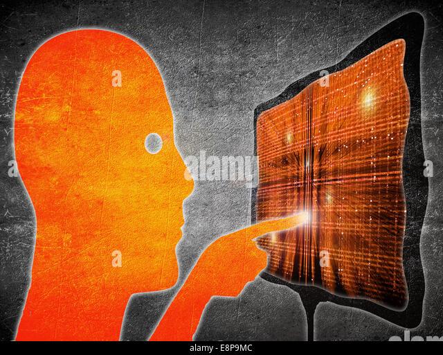 man touching touchscreen orange on black digital illustration - Stock-Bilder