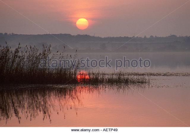 Estonia Tallin Lake Harku sunset - Stock Image