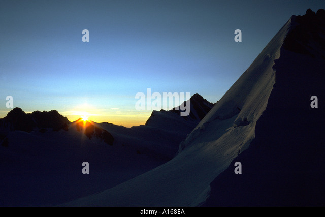 Sunrise from the Oberer Mönchjoch, Bernese Oberland, Switzerland - Stock Image
