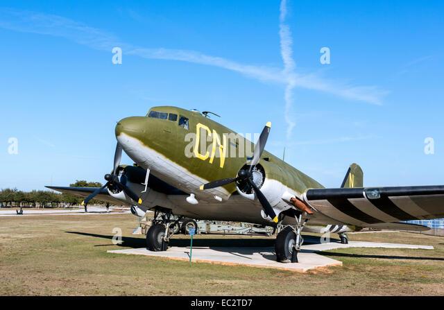 A Douglas C-47D Skytrain or Dakota, USS Alabama Battleship Memorial Park, Mobile, Alabama, USA - Stock Image