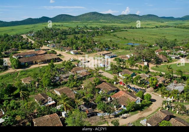 Former sugar cane plantation Manaca-Iznaga estate with the Escambray Sierra in the distance, Valle De Los Ingenios, - Stock Image