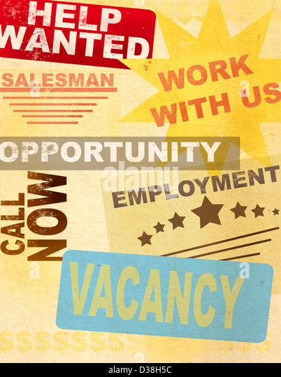 Posters of advertising Jobs - Stock Image
