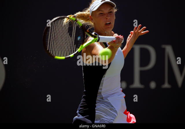 New York, United States. 29th Aug, 2016. Caroline Wozniacki of Denmark during her first round match against Taylor - Stock Image