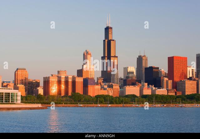USA Chicago Skyline viewed over Lake Michigan - Stock Image