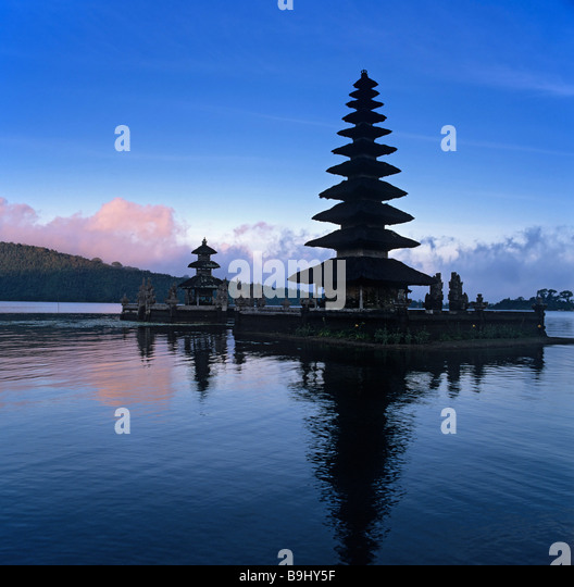 Ulun Danu Temple, Lake Bratan, dusk, Bali, Indonesia, south-east Asia - Stock Image