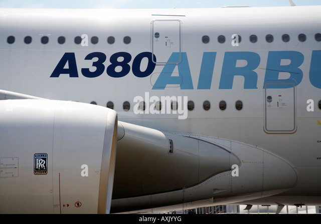 Particular of the fuselage of the double deck Airbus A380 superjumbo aircraft on static display at Farnborough International - Stock Image