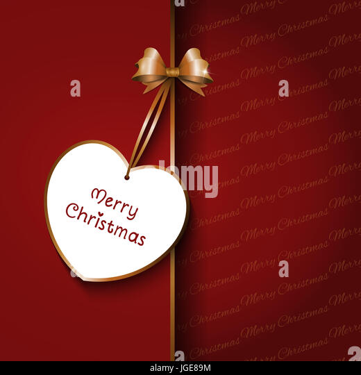 Christmas gift background with red bow and label - Stock Image