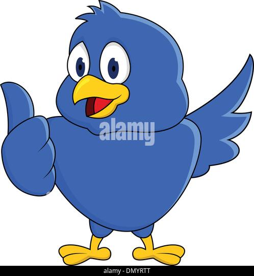 Funny blue bird showing thumb up - Stock Image
