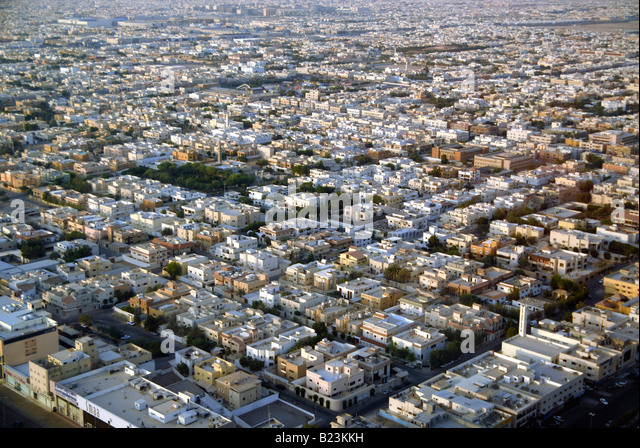 Aerial view showing residential and commercial districts of Riyadh, Saudi Arabia - Stock Image