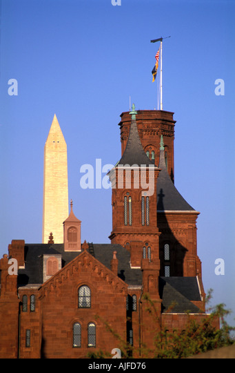Smithsonian Castle building in Washington D.C. - Stock Image
