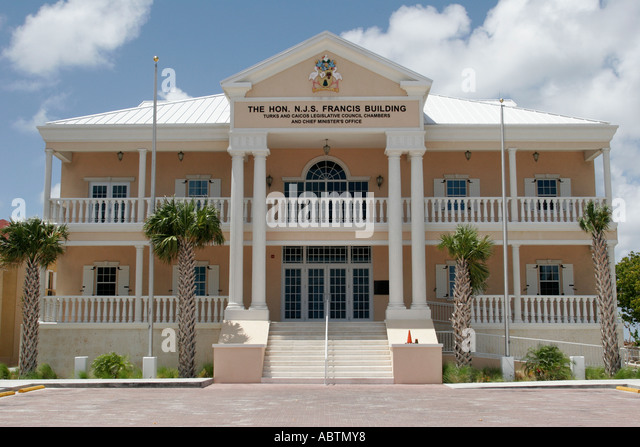 Grand Turk Cockburn Town Queen Street Francis Building Parliament government - Stock Image