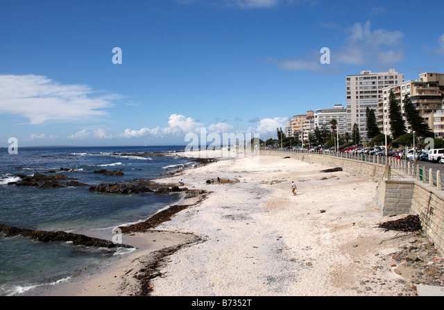 view along broken bath beach sea point cape town south africa - Stock Image