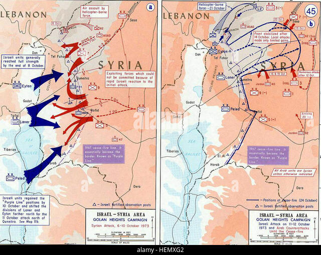 1973 Yom Kippur War - Golan heights theater - Stock Image