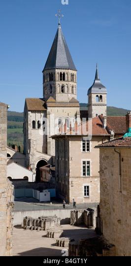 Cluny, Weihwasserturm, Uhrenturm, Westansicht - Stock-Bilder