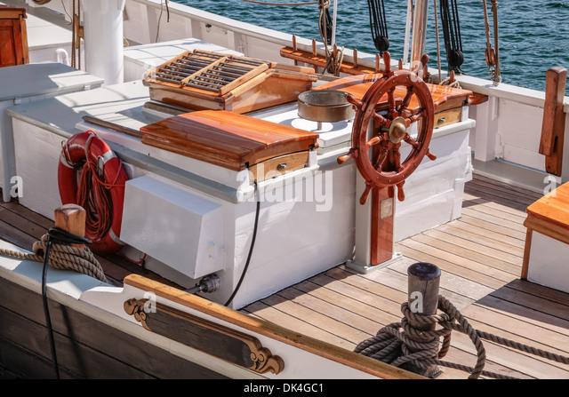 Helm of an old sailing boat in Nyhavn in Copenhagen, Denmark - Stock Image