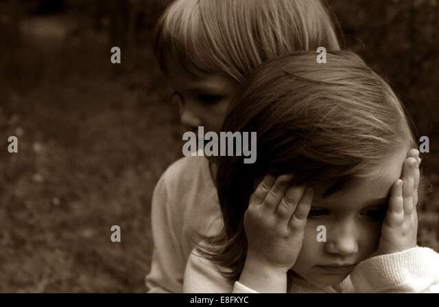 Two little girls outdoors - Stock Image