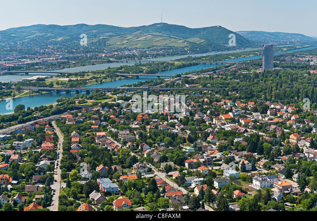 View from the Danube tower over the Danube River towards Vienna Doebling. Vienna, Austria, Europe - Stock Image
