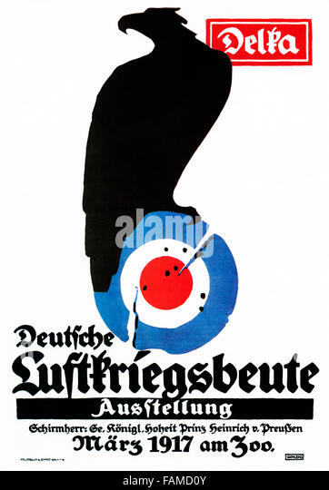 Exhibition of Captured Aircraft, 1917 poster by Julius Gipkens of air war booty on show in Berlin - Stock Image