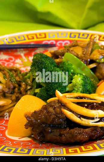 Three Flavored Beef entree Chinese food. - Stock Image