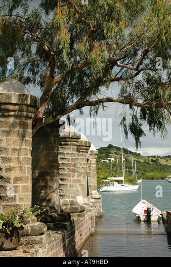 Antigua 18th century columns near Admiral s Inn at Nelson s Dockyard National Park at English Harbour - Stock Image
