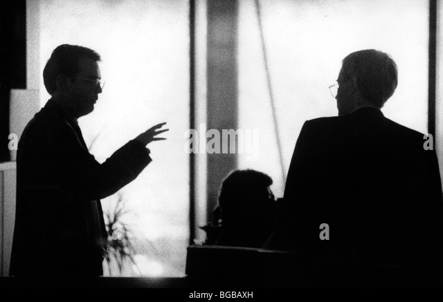 Photograph of business man uk silhouette talk success director - Stock-Bilder