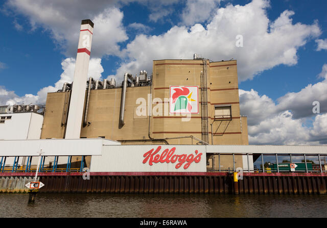 'Kellogs' factory on the River Wesser at Bremen, Germany - Stock Image