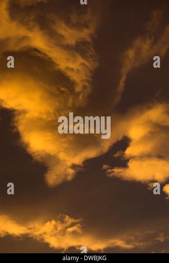 Germany, Euskirchen, morning sky, clouds, sunrise - Stock Image