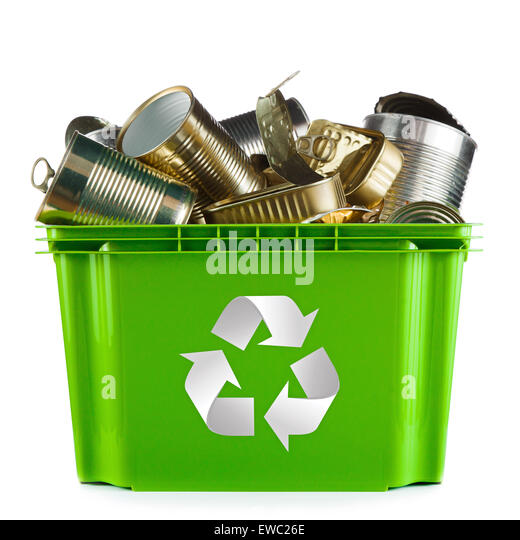 Recycling concept - bin full of empty metal cans - Stock Image