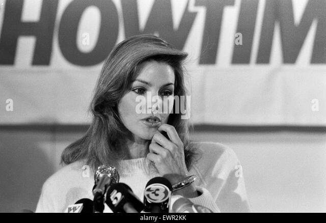 Priscilla Presley, Chairwoman of Elvis Presley Enterprises, pictured at news press conference to promote Elvis Presley - Stock Image